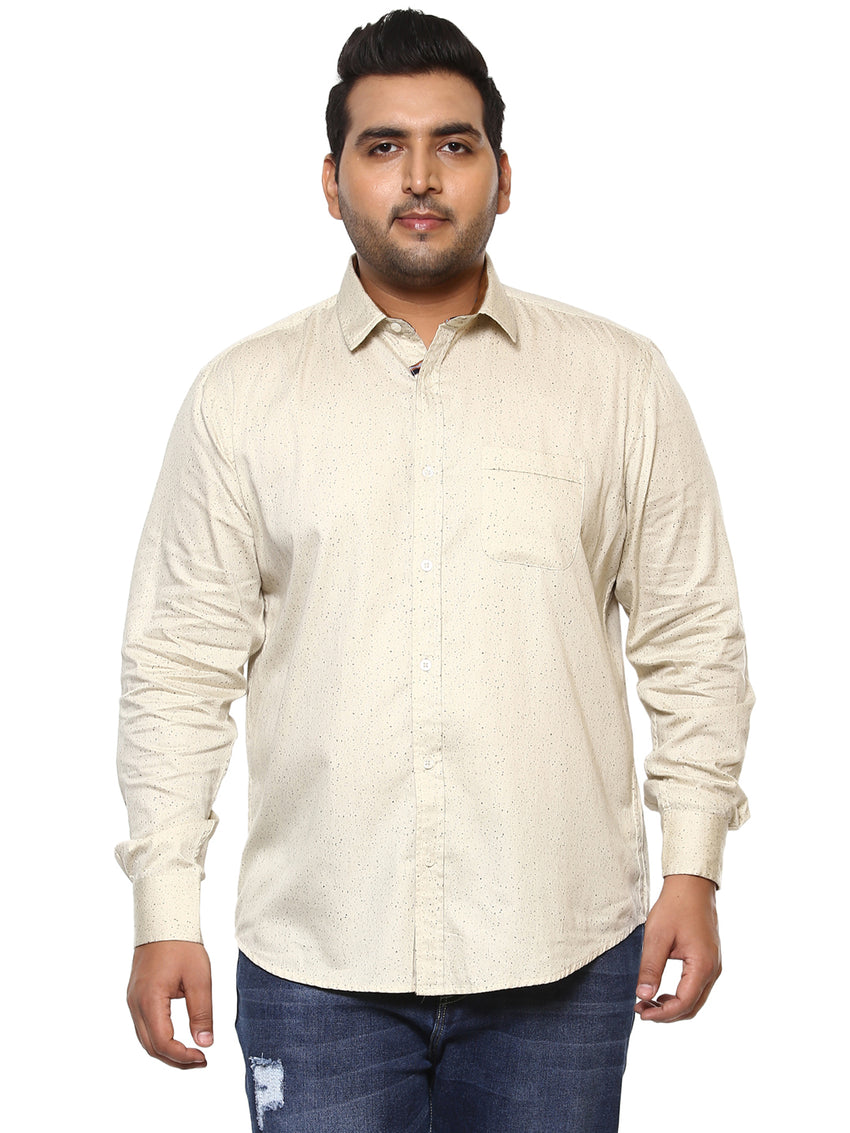 John Pride Beige Printed Full Sleeve Shirt- 4138