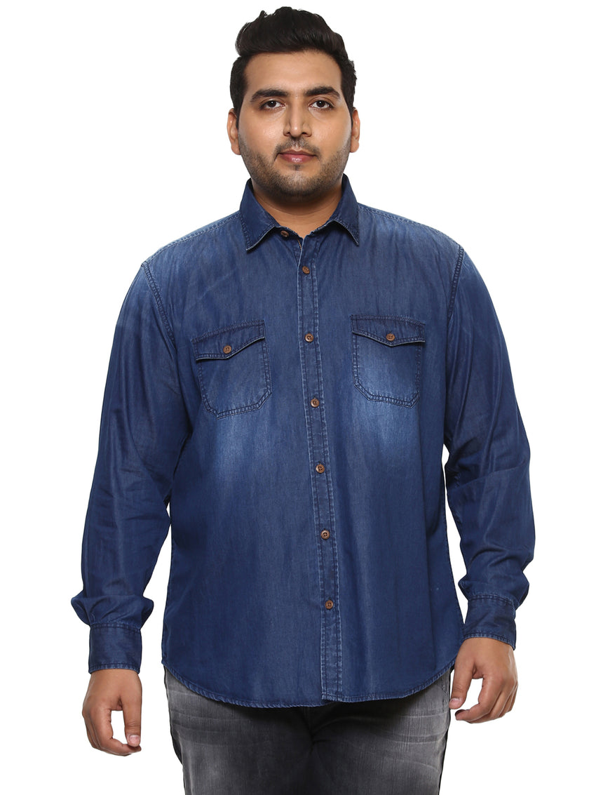 Dark Blue Full Sleeve Denim Shirt-4142A