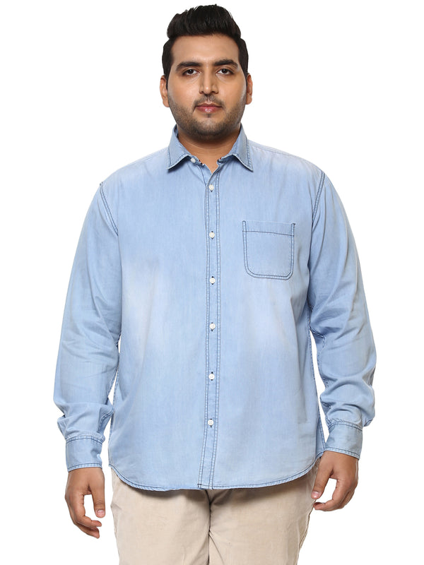Light Blue Full Sleeve Denim Shirt-4142B