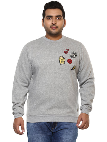 John Pride Grey Full Sleeve Sweatshirt- 7521A