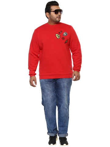 John Pride Red Full Sleeve Sweatshirt- 7521B
