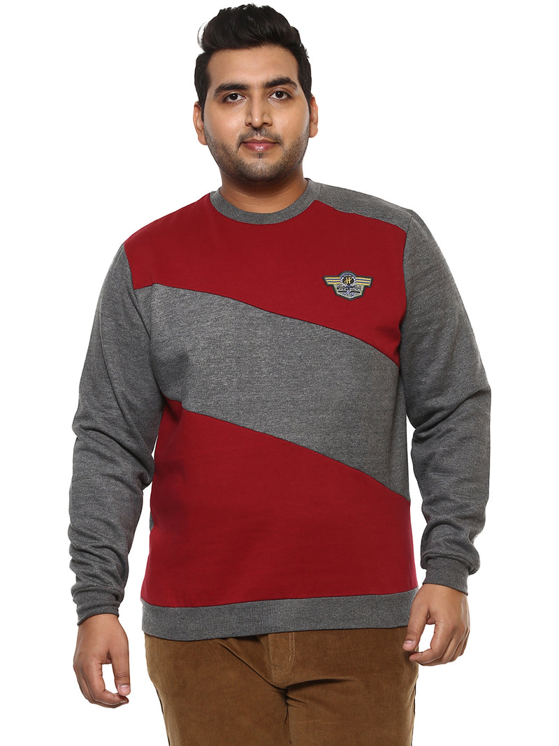 John Pride Grey Colour Blocked Full Sleeve Sweatshirt- 7522B