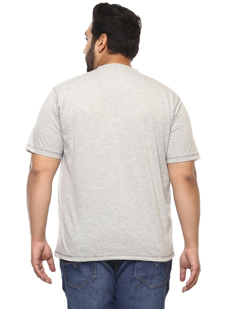 Grey Half Sleeve Round Neck T-Shirt-304B
