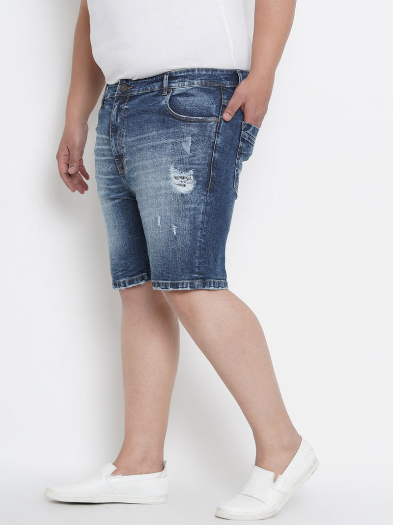 Denim Shorts With Cat Scratches- 6651
