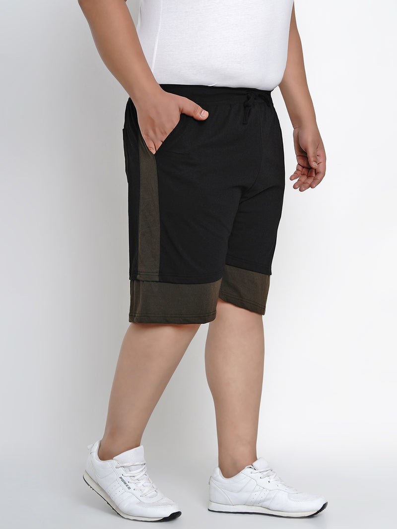 BLACK REGULAR FIT HOSIERY SHORTS - 6667