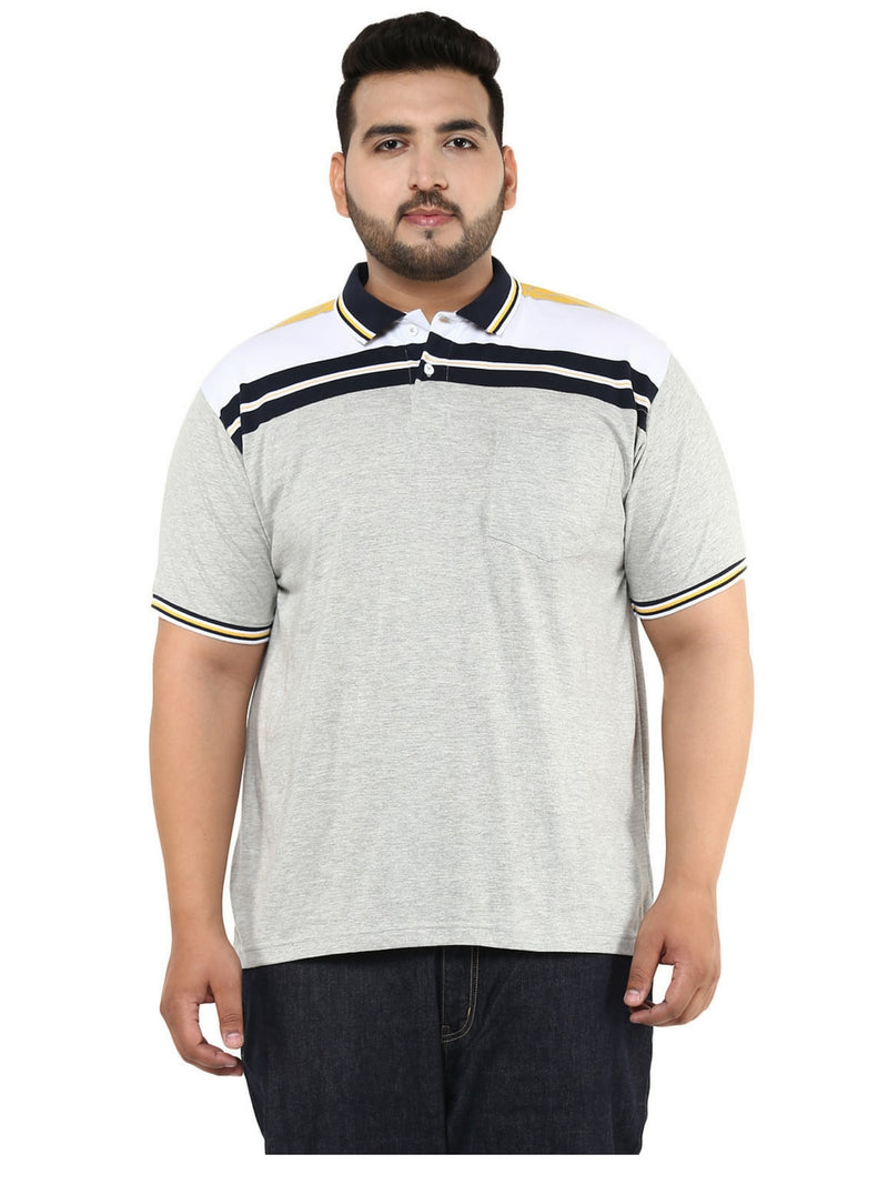 Striped Grey & Navy Blue Polo T-Shirt- 3252