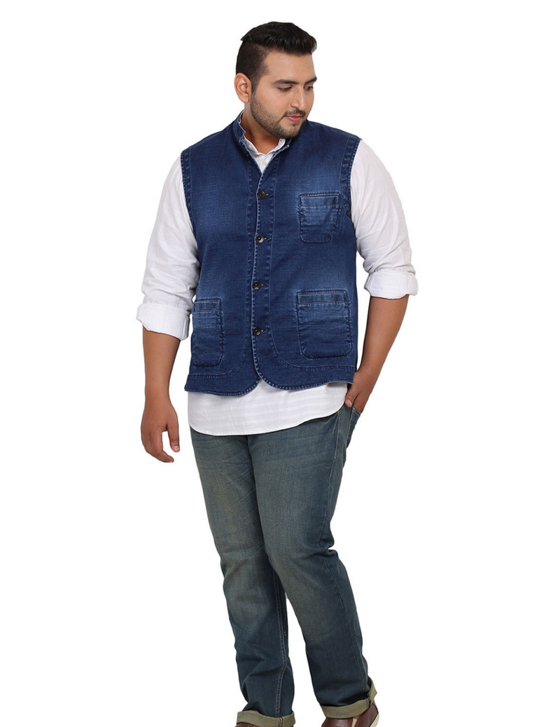 Blue Denim Nehru Jacket- 7402