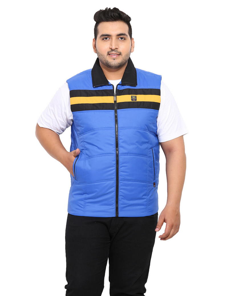 Sleeveless Mock Collar Blue Padded Jacket- 7374