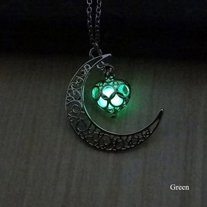 Celtic Glow in the Dark Necklace With Crescent Moon & Heart Charms