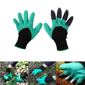 2 Pairs Of Rubber Garden Gloves With Plastic Finger Tip Claws To Make Your Gardening Easier