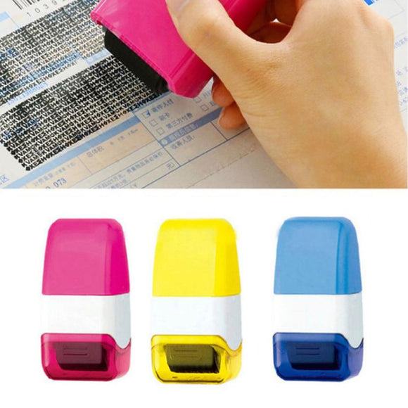 1Pcs Office Selfinking Roller Stamp That Guards Your ID And Privacy