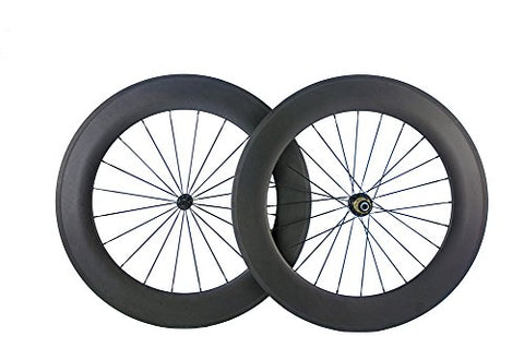 Queen Bike 88mm Clincher Wheels Carbon Wheelset for Road Bike 700c 1 Pair (Shimano Cassette)