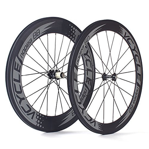 VCYCLE Nopea 700C Road Bike Carbon Wheelset Clincher Front 60mm Rear 88mm Shimano or Sram 8/9/10/11 Speed