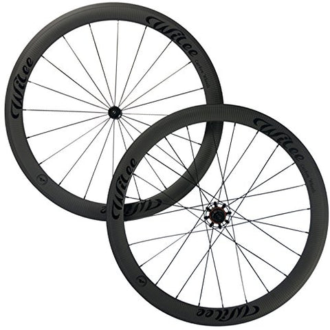 Wilee Bike 50mm Clincher Road Carbon Wheelset 3K Twill Matte Bicycle Carbon Wheels (Black (glossy) Decal)