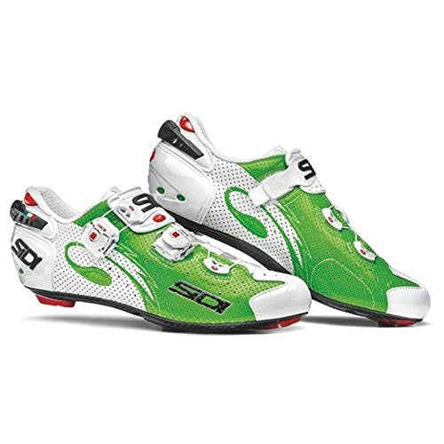Sidi Wire Carbon Air Vernice Road Shoes,Green Fluo/White (42)