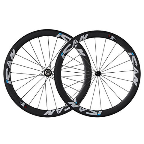 ICAN 50mm Carbon Road Bike Wheelset 700C Clincher Sapim CX-Ray Spokes Shimano or Sram 10/11 Speed Only 1460g ( Upgraded Version Wheelset )