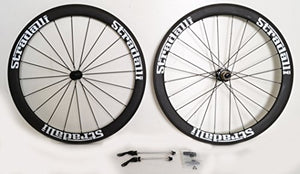 Stradalli Road Bike 50mm Full Carbon Clincher Matte Black Wheelset White Graphic