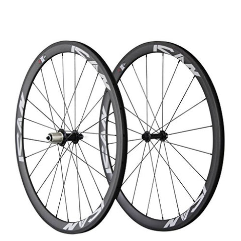 ICAN Carbon Road Bike 700C Wheelset Clincher 38mm Rim Sapim CX-Ray Spokes Only 1370g ( Best for: Climbing and Sprinting )