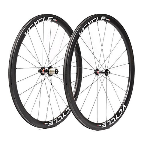 VCYCLE HALO 40mm Carbon Fiber Racing Road Bike Wheelset 700C in Bicycle Wheel 25mm Width Clincher Ultra Light Shimano or Sram 8/9/10/11 Speed