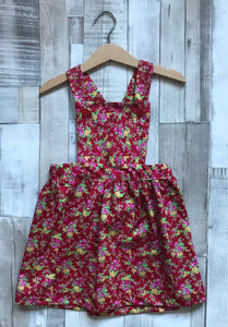 Red Floral Pinafore