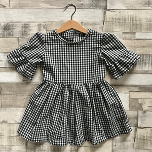 Gingham Flared Sleeve Dress