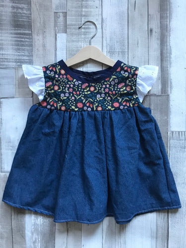 Floral and Denim Contrast Top