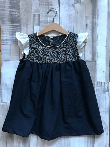 Navy and Floral Girls Dress