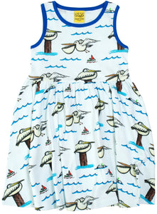 DUNS sleeveless twirly dress in Pelican