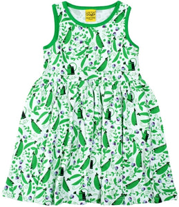 DUNS Sweden Twirly Gather dress in pea Green