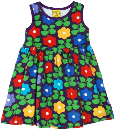 DUNS Autumn 2018| Flowers, Purple| Sleeveless Twirly Dress w gather skirt