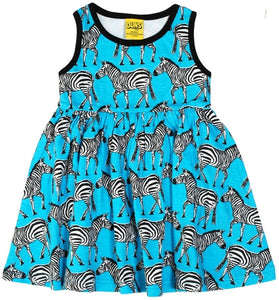 DUNS Autumn 2018 | Zebra Turquoise |Sleeveless Dress w gather skirt