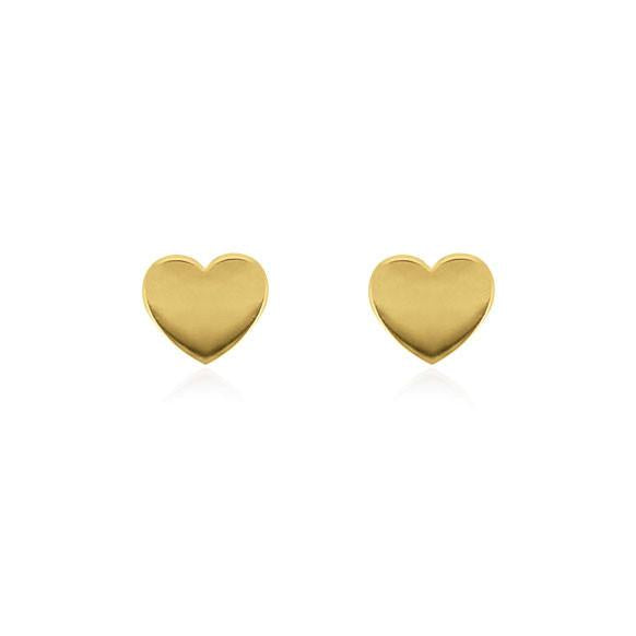 Heart Stud Gold Plated Sterling Silver