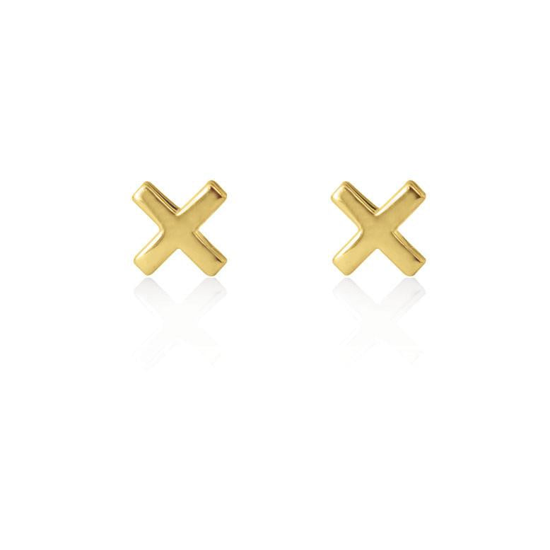 Cross Stud Gold Plated Sterling Silver
