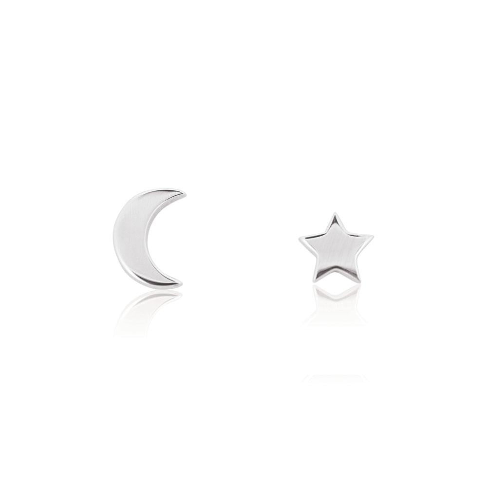 Star and Moon Stud Sterling Silver