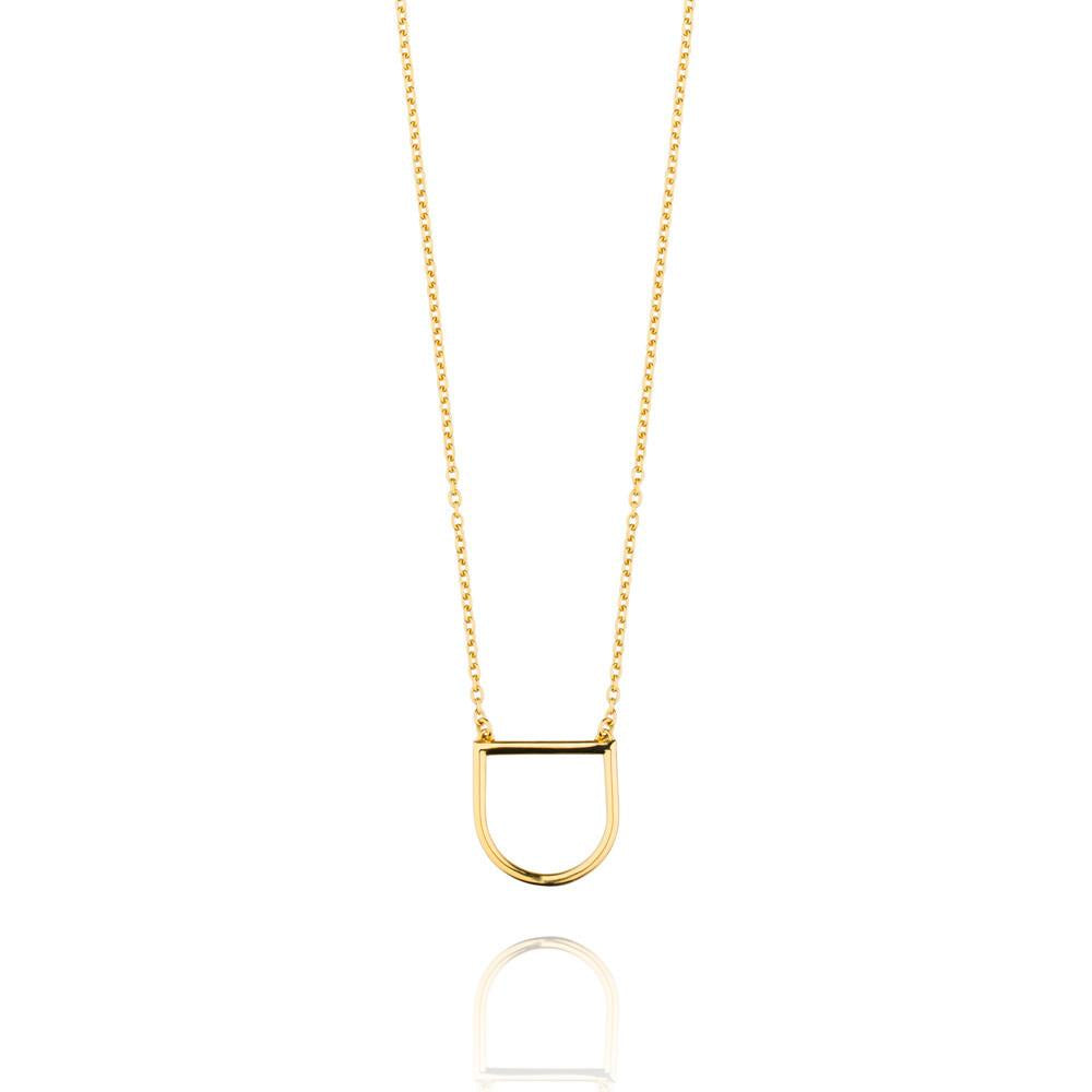U Necklace Gold Plated Sterling Silver