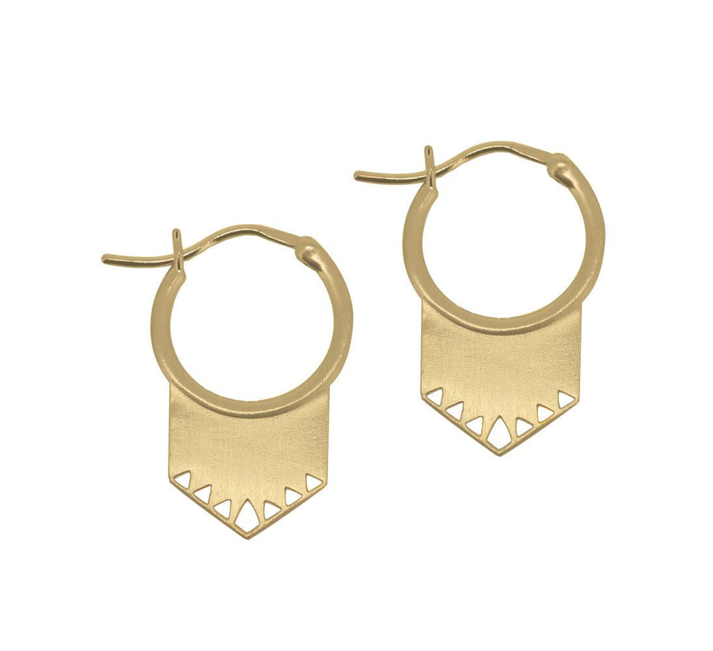 Shield Earrings Gold Plated Sterling Silver