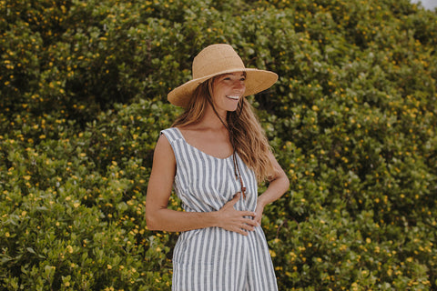 Courtney Adamo wears Byron Blue Stripe Beyond Nine