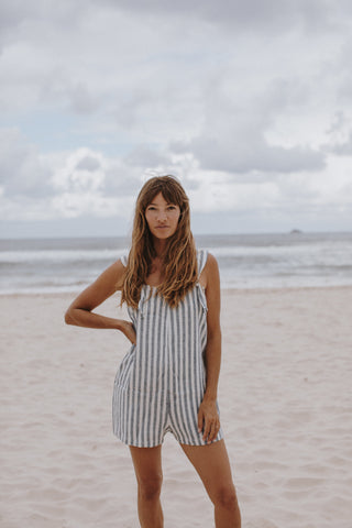 Courtney Adamo wears Beyond Nine Kate Mini Blue Stripe