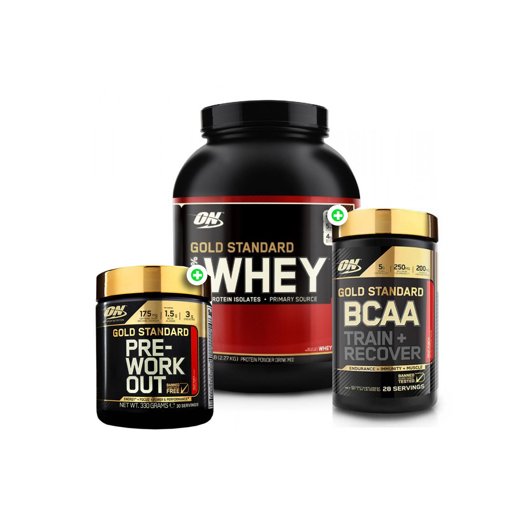 Optimum Nutrition 100% Whey Gold Standard 5lb + BCAA + Pre Workout