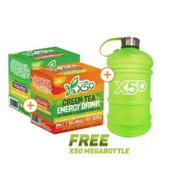 2 x X50 Green Tea 60 Serves + FREE X50 Mega Bottle