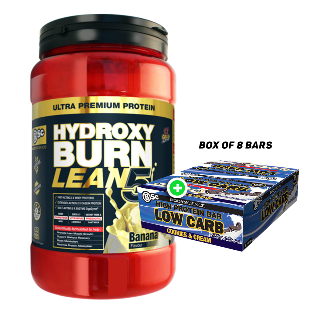 BSc Hydroxyburn Lean 5 Plus BSc High Protein Low Carb 60g Bar(8pcs)