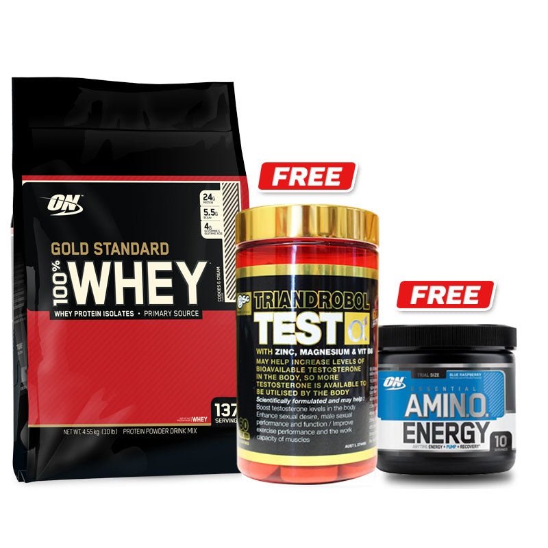 Optimum Nutrition 100% Whey Gold Standard 10LB + FREE Amino Energy 10 Serve + Test Booster