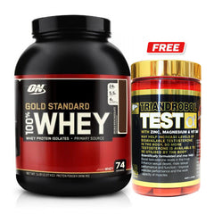 Optimum Nutrition 100% Whey Gold Standard 5lb + FREE BSc Test Booster
