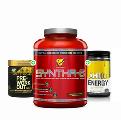BSN Syntha-6 48 Serves + Optimum Nutrition Essential Amino Energy 30 Serves + Gold Standard Pre-Workout 30 Serves
