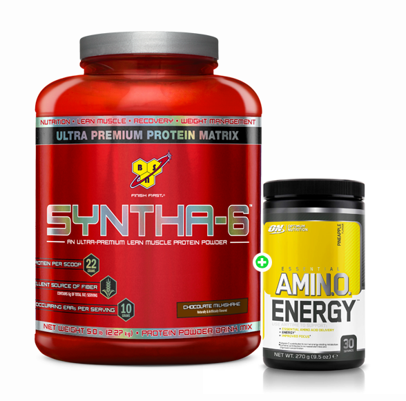 BSN Syntha-6 5lb + Optimum Nutrition Essential Amino Energy 30 Serves