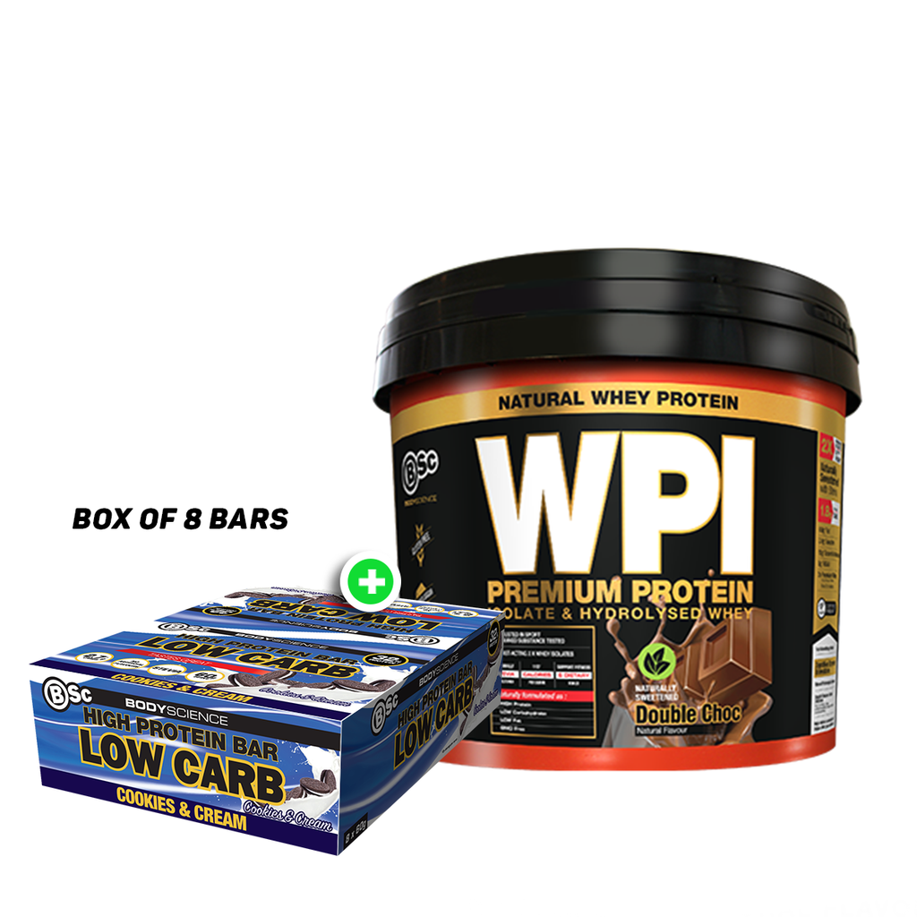 BSc WPI Lean Protein 3kg + BSc High Protein Low Carb 60g Bar(8pcs)