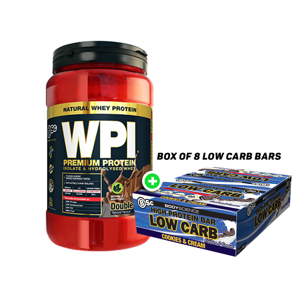 BSc Wpi Lean Protein 900g Plus BSc High Protein Low Carb 60g Bar(8pcs)