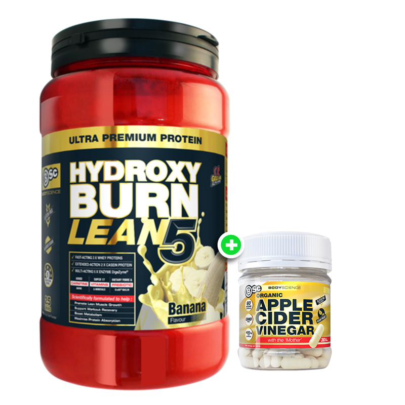 BSc HydroxyBurn Lean 5 + Organic Apple Cider Vinegar