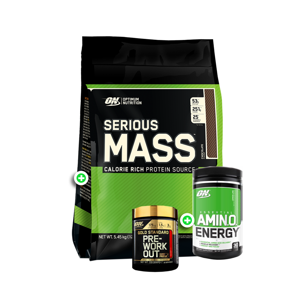 Optimum Nutrition Serious Mass 12lb + Amino Energy 30 Serves + Pre-Workout 30 Serves