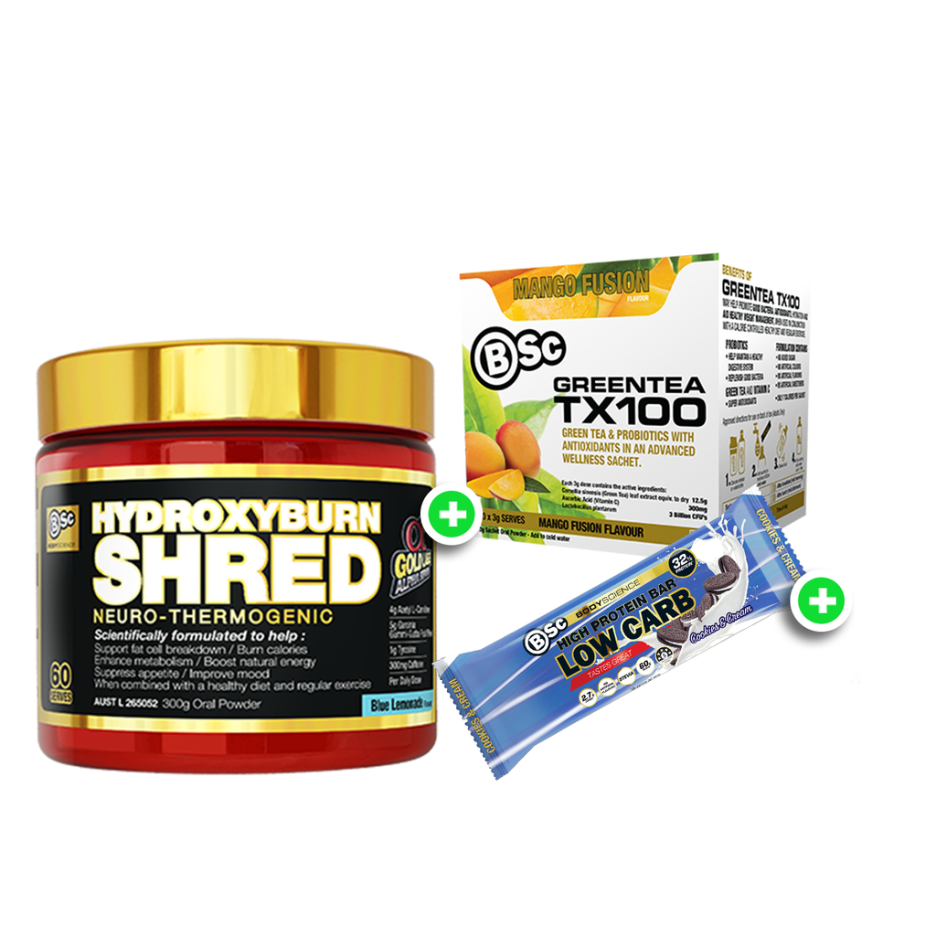BSc Hydroxyburn Shred 60 Serves + BSc  Tx100 Green Tea + BSc Low Carb 60g Bar